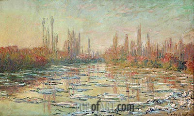 The Thaw on the Seine, near Vetheuil, 1880 | Monet | Painting Reproduction