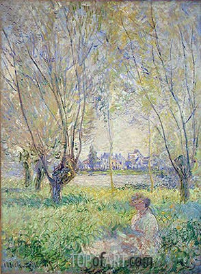 Woman Seated under the Willows, 1880 | Monet| Gemälde Reproduktion