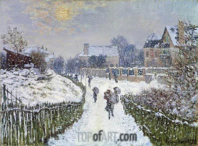 Boulevard Saint-Denis, Argenteuil, in Winter, 1875 | Monet| Painting Reproduction