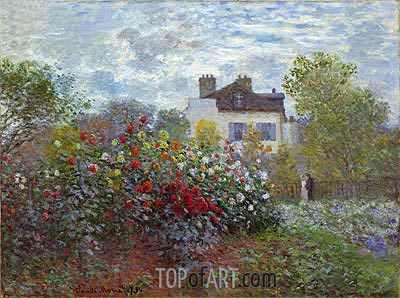 The Artist's Garden in Argenteuil (The Dahlias), 1873 | Monet | Painting Reproduction