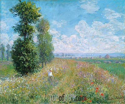 Meadow with Poplars (Poplars near Argenteuil), 1875 | Monet| Painting Reproduction