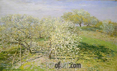 Spring (Fruit Trees in Bloom), 1873 | Monet| Painting Reproduction
