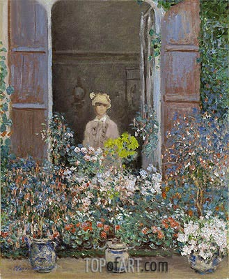 Camille Monet at the Window, Argenteuil, 1873 | Monet| Painting Reproduction