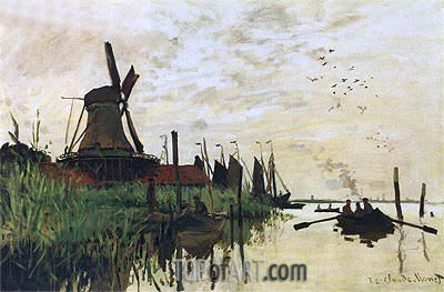 Windmill at Zaandam, 1872 | Monet | Gemälde Reproduktion