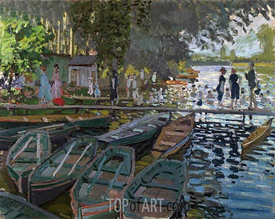 Bathers at la Grenouillere, 1869 | Monet| Painting Reproduction
