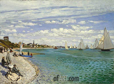 The Regatta at Sainte Adresse, 1867 | Monet | Gemälde Reproduktion