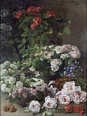 Spring Flowers, 1864 | Monet | Gemälde Reproduktion