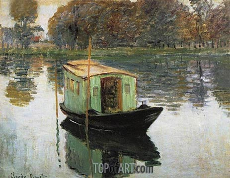 The Studio Boat, c.1874 | Monet | Painting Reproduction