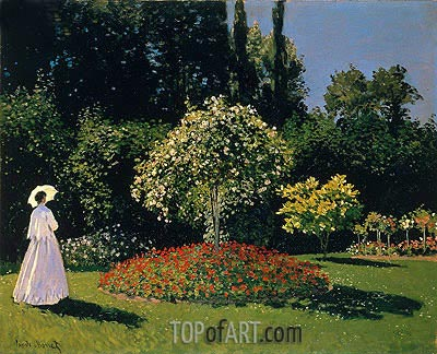 Woman in the Garden. Sainte Adresse, 1867 | Monet | Painting Reproduction