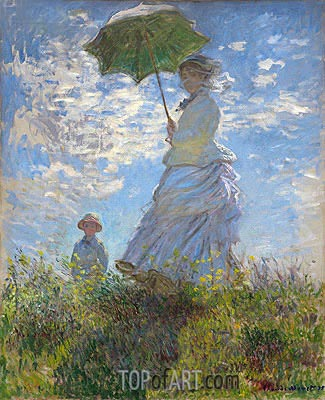 Woman with a Parasol - Madame Monet and Her Son, 1875 | Monet | Gemälde Reproduktion
