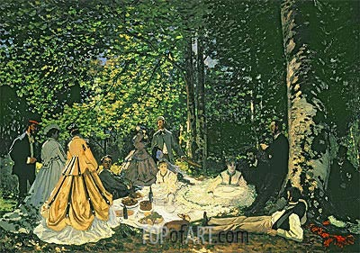 Luncheon on the Grass (Le Dejeuner sur l'Herbe), 1866 | Monet| Gemälde Reproduktion