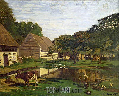 Farmyard in Normandy, c.1863 | Monet| Painting Reproduction