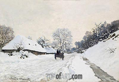The Cart (Road under Snow at Honfleur), 1865 | Monet | Gemälde Reproduktion