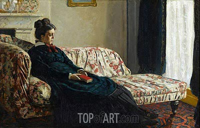 Meditation, Madame Monet Sitting on a Sofa, c.1871 | Monet | Gemälde Reproduktion