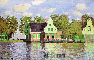 Houses on the Zaan River at Zaandam, c.1871/72 | Monet | Painting Reproduction