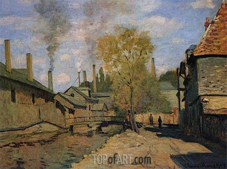 The Robec Stream, Rouen (Factories at Deville), 1872 | Monet | Gemälde Reproduktion