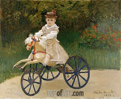 Jean Monet on His Horse Tricycle, 1872 | Monet| Painting Reproduction