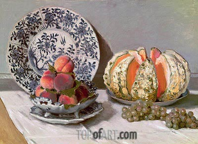 Still Life with Melon, c.1876 | Monet | Gemälde Reproduktion