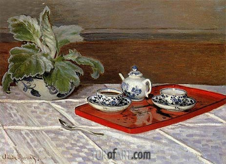 The Tea Set, 1872 | Monet | Gemälde Reproduktion