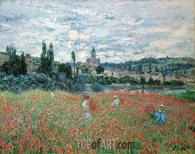 Poppies near Vetheuil, c.1879 | Monet| Painting Reproduction