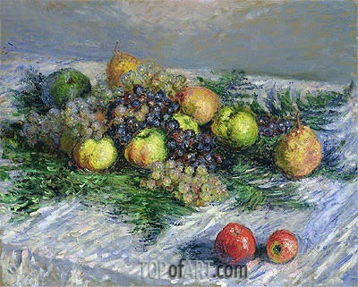 Fruit Still Life, Pears and Grapes, 1880 | Monet | Gemälde Reproduktion