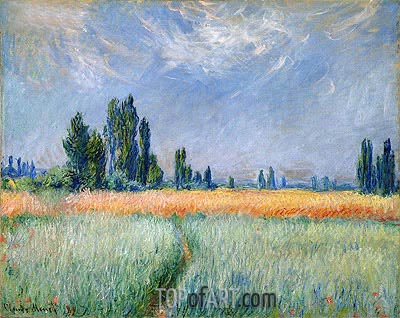 Wheat Field, Corn, 1881 | Monet | Gemälde Reproduktion