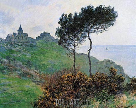 The Church at Varengeville, Grey Weather, 1882 | Monet | Gemälde Reproduktion