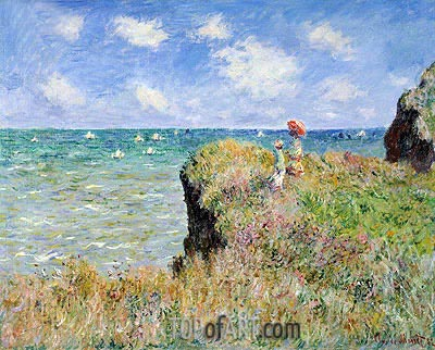 Cliff Walk at Pourville, 1882 | Monet| Painting Reproduction
