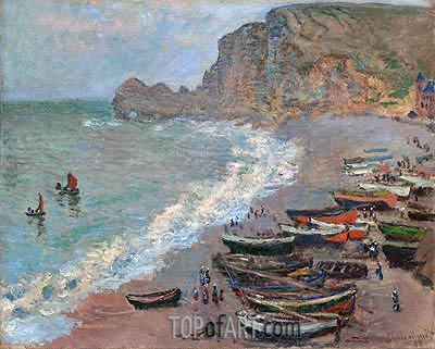 Monet | Etretat, Beach and the Porte d'Amont, 1883