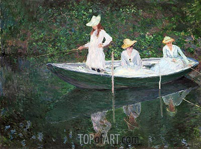 The Boat at Giverny (In the 'Norvegienne'), 1887 | Monet | Painting Reproduction