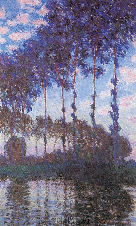 Poplars, Sunset, 1891 | Monet | Painting Reproduction