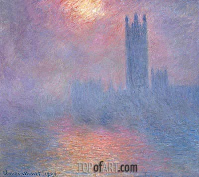 London, Parliament with the Sun Breaking Fog, 1904 | Monet | Painting Reproduction