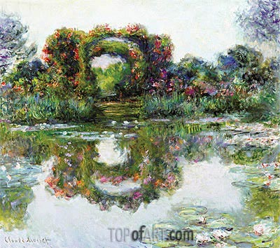 Flowered Arches at Giverny (Rose Covered Pergola), 1913 | Monet | Gemälde Reproduktion