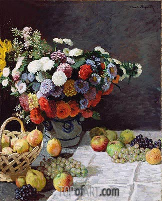 Still Life with Flowers and Fruit, 1869 | Monet | Painting Reproduction