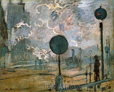 Exterior of Gaire Saint-Lazare Station (The Signal), 1877 | Monet | Painting Reproduction