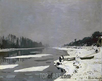 Ice on the Seine at Bougival, c.1864/69 | Monet| Painting Reproduction