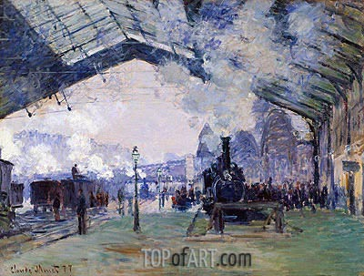 Arrival of the Normandy Train, Gare Saint-Lazare, 1877 | Monet | Painting Reproduction