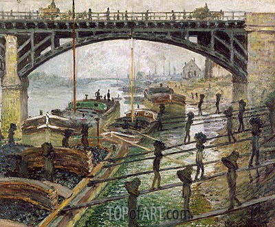 The Coal Dockers, 1875 | Monet | Painting Reproduction