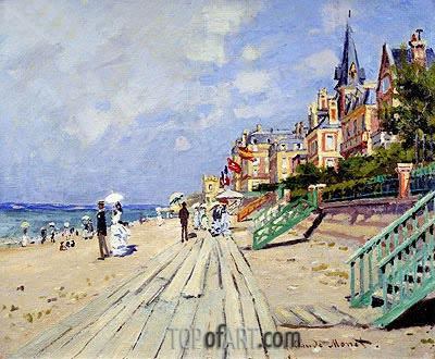 The Boardwalk at Trouville, 1870 | Monet | Painting Reproduction