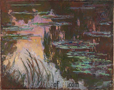 Water-Lilies, Setting Sun, c.1907 | Monet | Painting Reproduction