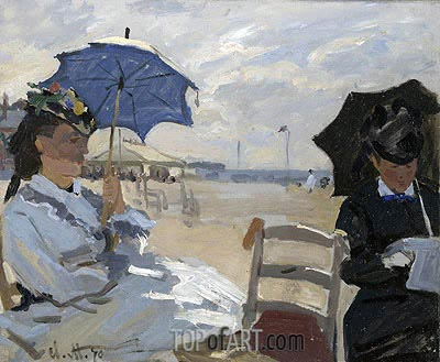 The Beach at Trouville, 1870 | Monet | Painting Reproduction
