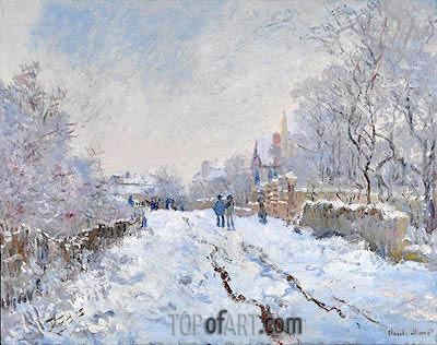 Snow Scene at Argenteuil, 1875 | Monet | Painting Reproduction