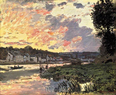 The Seine at Bougival, Evening, 1869 | Monet | Painting Reproduction