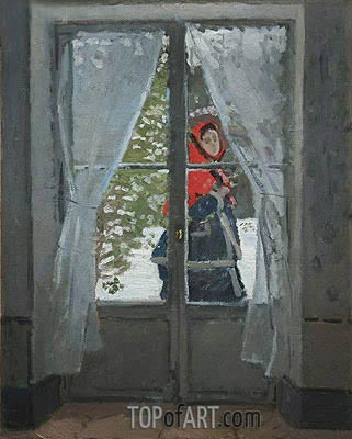 The Red Cape (Madame Monet), c.1870 | Monet | Painting Reproduction