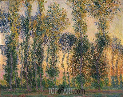 Poplars at Giverny, Sunrise, 1888 | Monet| Painting Reproduction