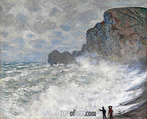 Rough Weather at Etretat, 1883 | Monet | Gemälde Reproduktion