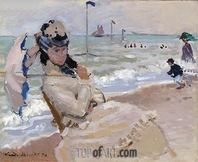 Camille on the Beach at Trouville, 1870 | Monet | Painting Reproduction