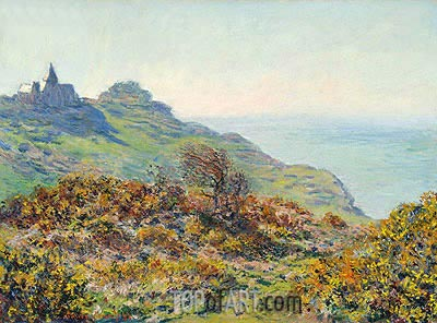 The Church of Varengeville and the Gorge of Moutiers Pass, 1882 | Monet| Painting Reproduction