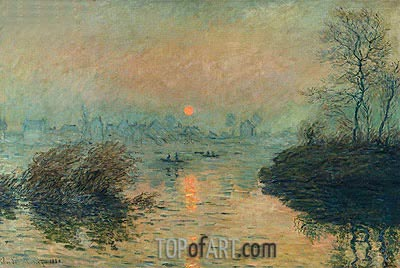 Sun Setting over the Seine at Lavacourt. Winter Effect, 1880 | Monet | Painting Reproduction