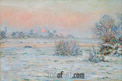 Winter Sun, Lavacourt (Snowy Landscape at Twilight), c.1879/80 | Monet | Painting Reproduction